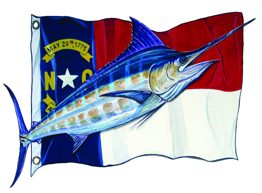 Image Is Loading NC State Flag Blue Marlin Fish Fishing Home