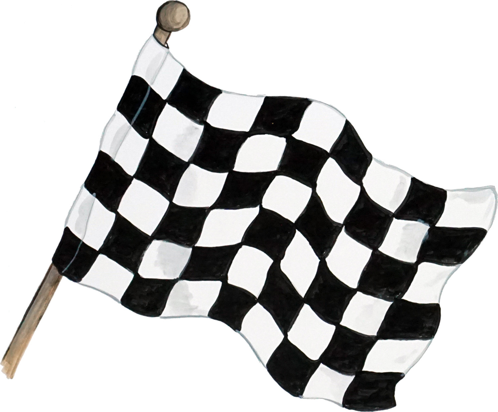 Black And White Flag In Car Racing
