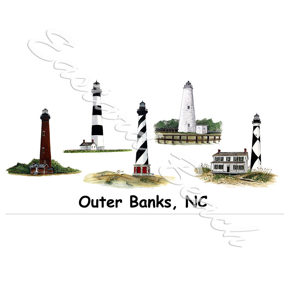 5 Lighthouses NC - Printed Vinyl Decal