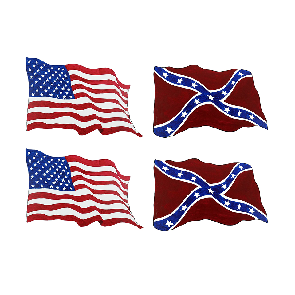 American And Confederate Flag Combo - Printed Vinyl Decal