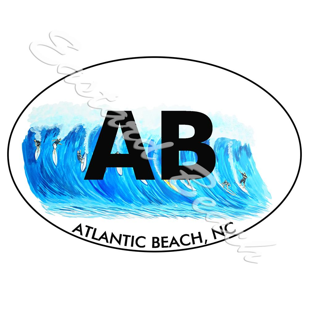 AB - Atlantic Beach Surfing - Printed Vinyl Decal