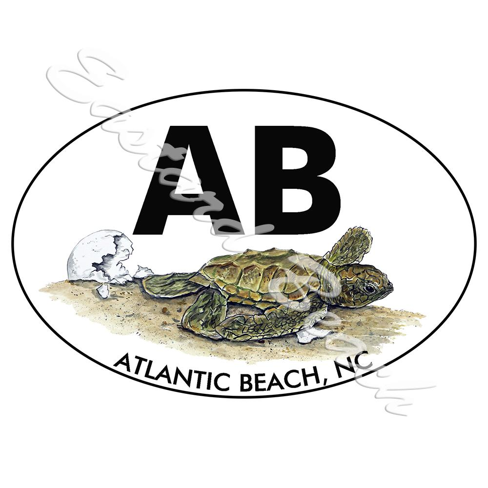 AB- Atlantic Beach OBX - Turtle Hatchling - Printed Vinyl Decal