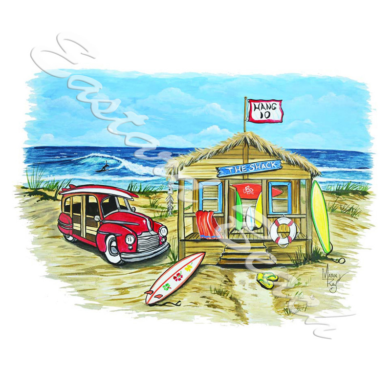 Beach Shack Scene - Printed Vinyl Decal