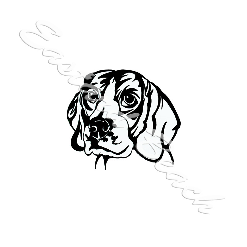 Beagle Outline - Printed Vinyl Decal
