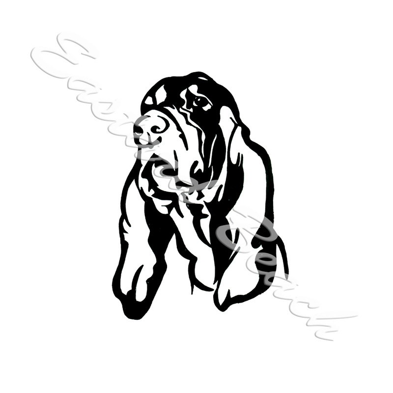 Coonhound Dog Outline - Printed Vinyl Decal