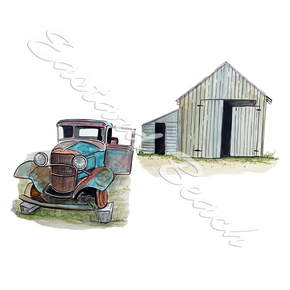 Old Blue Truck and Barn