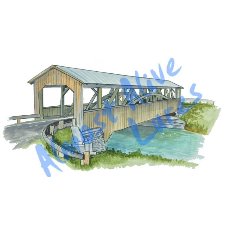 Covered Bridge - Printed Vinyl Decal