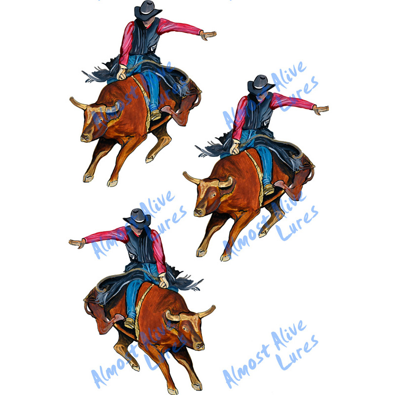 Bull Rider - Minis Set of 3 Printed Vinyl Decals