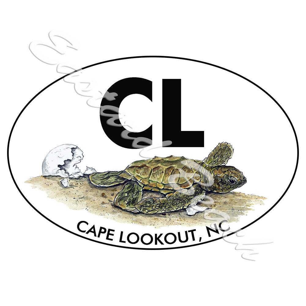 CL - Cape Lookout OBX - Turtle Hatchling - Printed Vinyl Decal