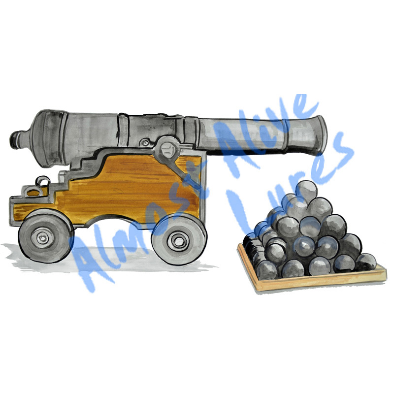 Cannon and Cannon Balls - Printed Vinyl Decal