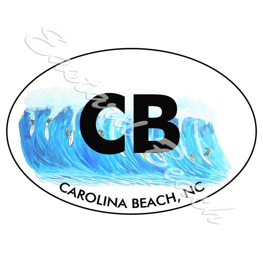 CB - Carolina Beach Surfing - Printed Vinyl Decal