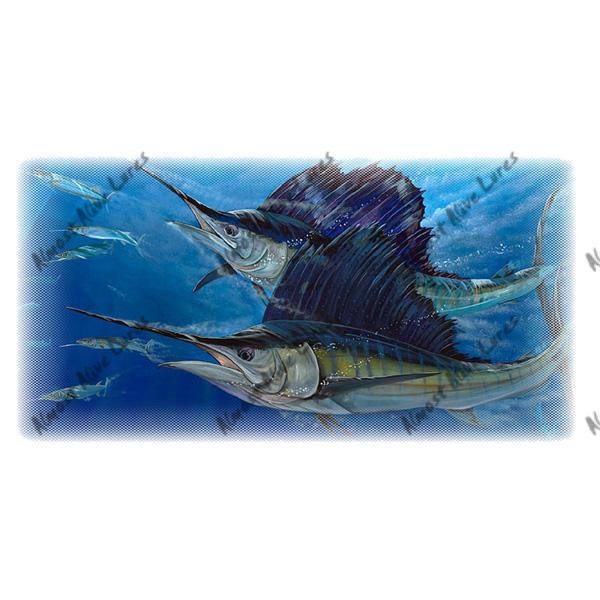 Sailfish Double - Printed Vinyl Decal