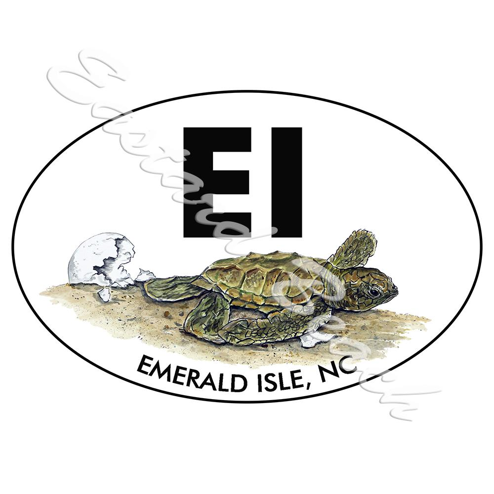 EI - Emerald Isle OBX - Turtle Hatchling - Printed Vinyl Decal