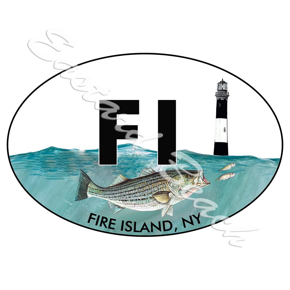 FI - Fire Island Lighthouse with Striper - Printed Vinyl Decal