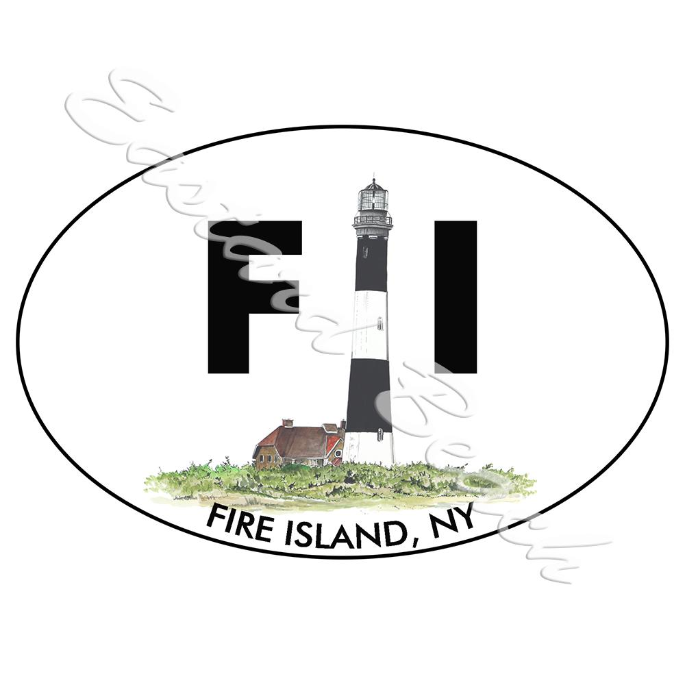 FI - Fire Island Lighthouse - Printed Vinyl Decal