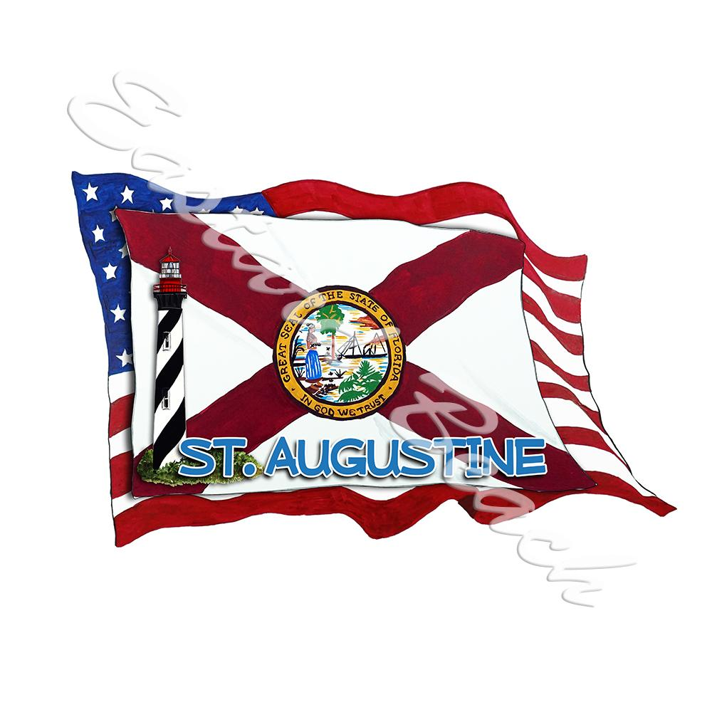 USA/FL Flags w/ Lighthouse- St. Augustine