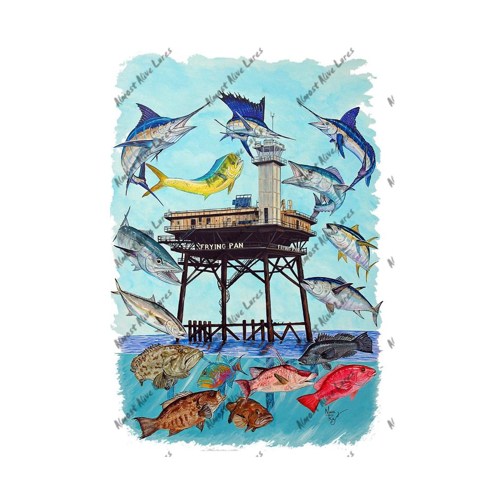 Frying Pan Tower & Fish Collage - Printed Vinyl Decal