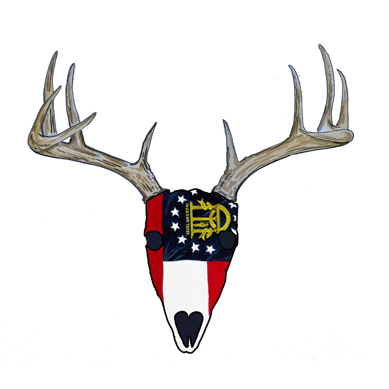 Georgia Flag Deer Skull - Printed Vinyl Decal