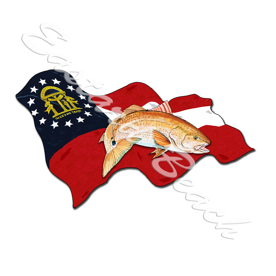 Georgia Flag and Red Drum