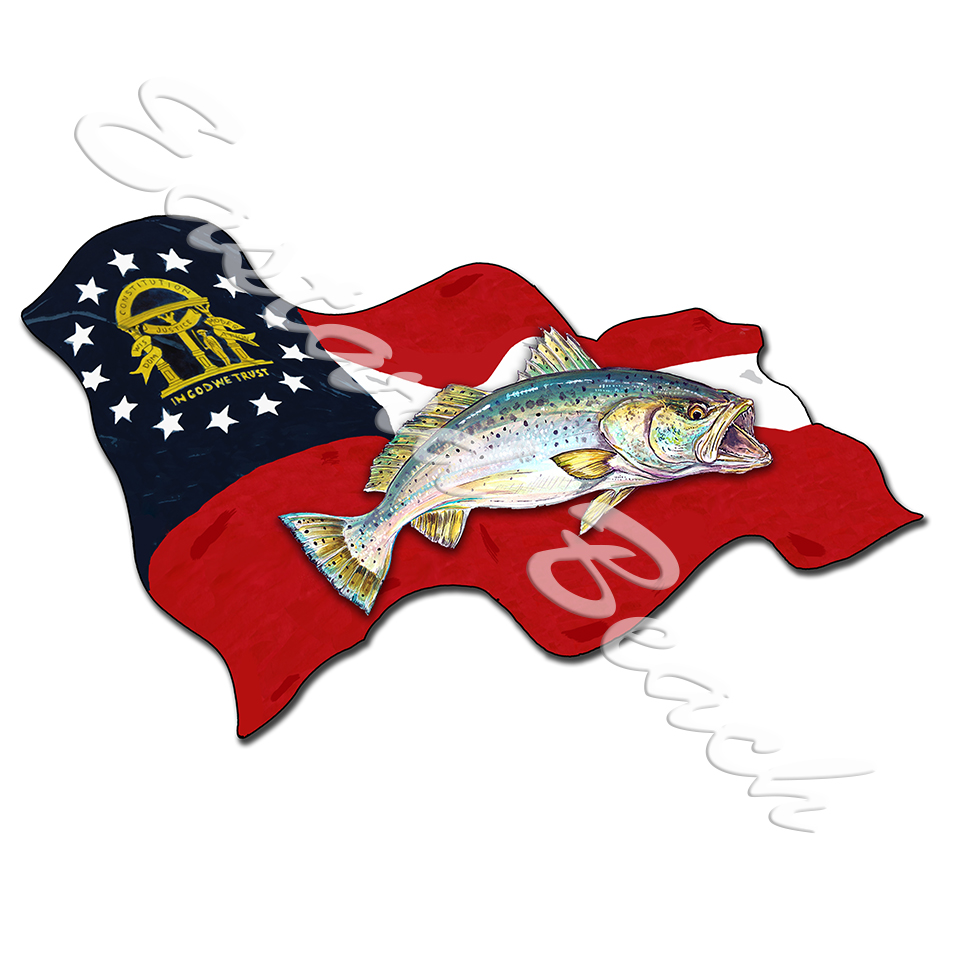 Georgia Flag with Speckled Trout