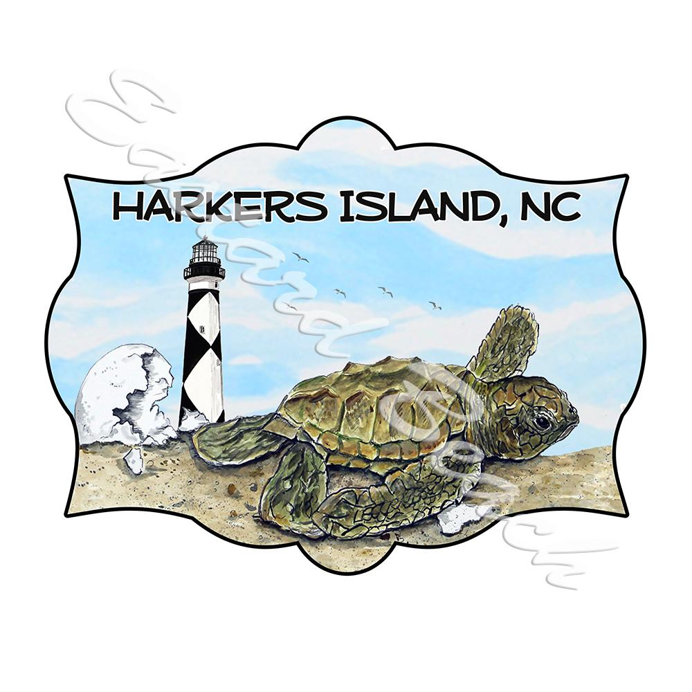 Harkers Island - Hatchling Scene w/ Lighthouse