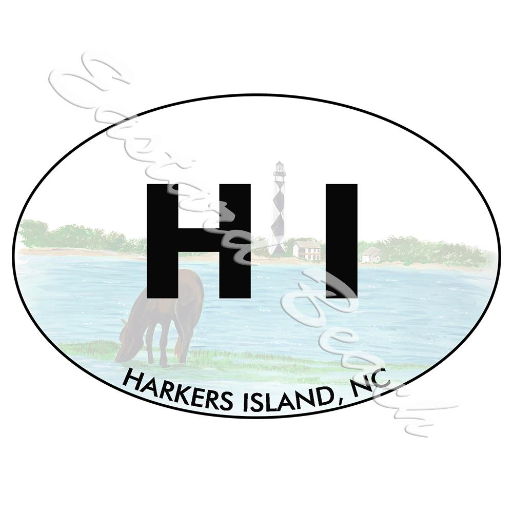 HI- Harkers Island OBX Lighthouse - Printed Vinyl Decal