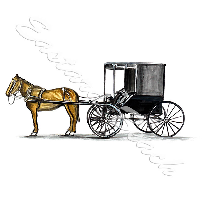 Horse And Carriage - Printed Vinyl Decal