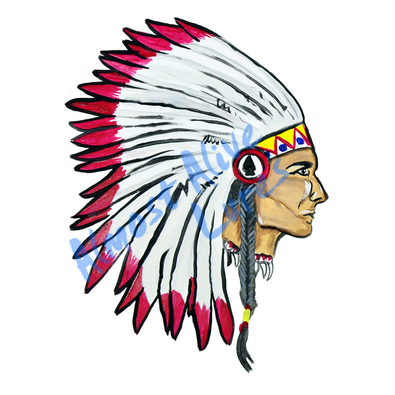 Indian Big Chief Head - Printed Vinyl Decal