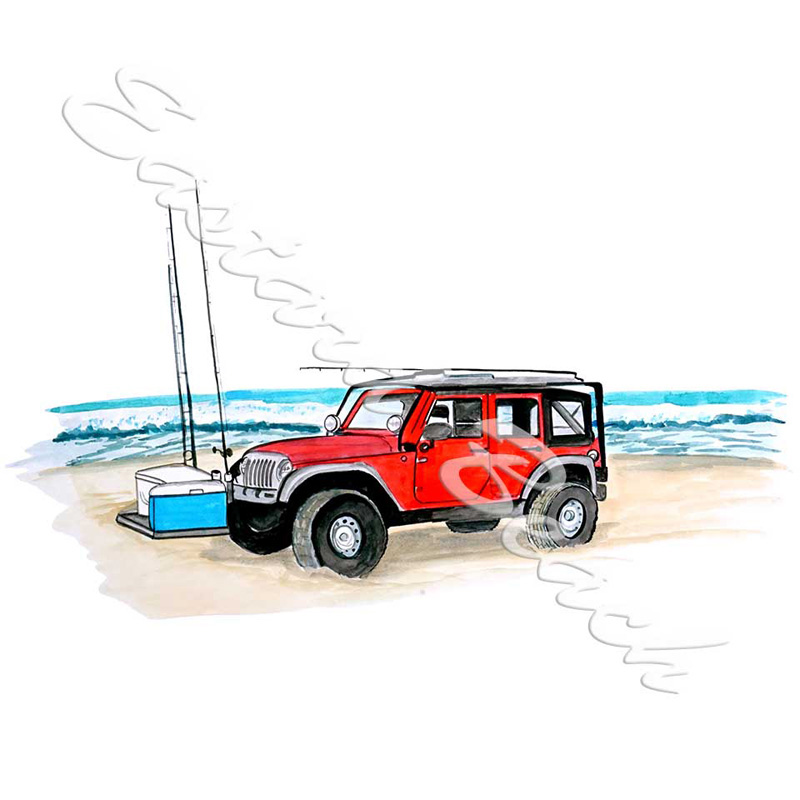 Jeep On Beach - Printed Vinyl Decal