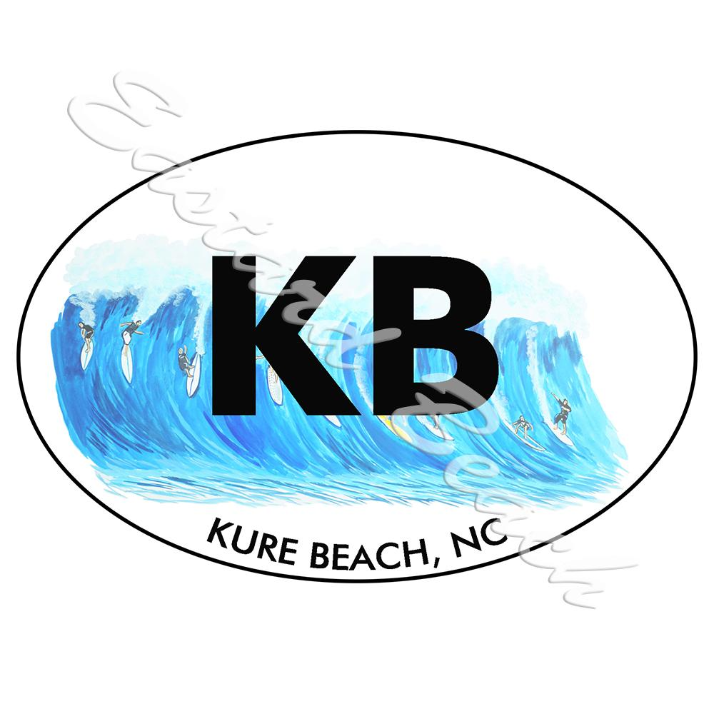 KB - Kure Beach Surfing - Printed Vinyl Decal
