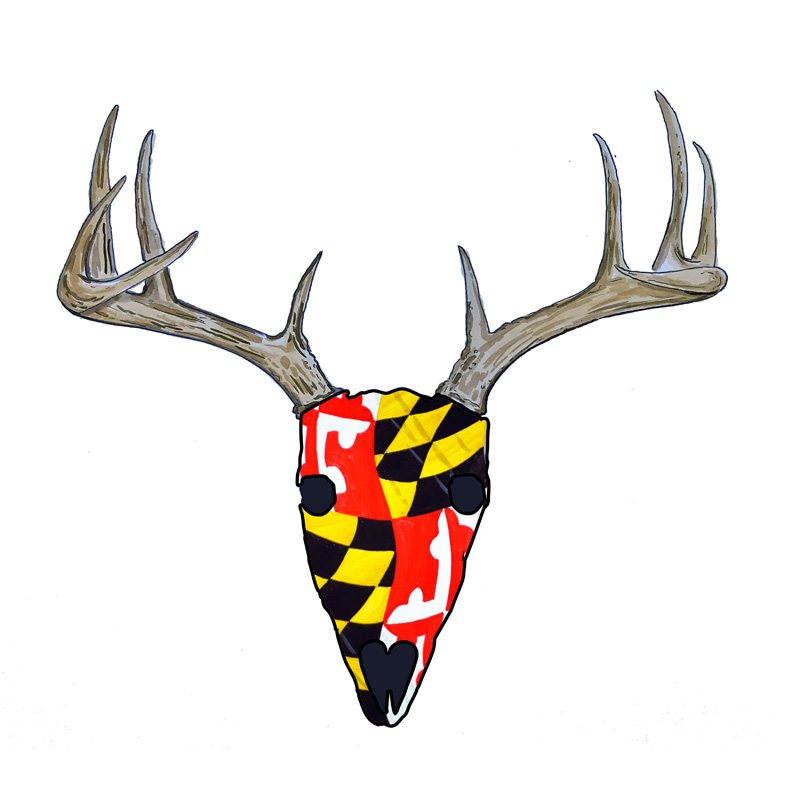 Maryland Flag Deer Skull - Printed Vinyl Decal