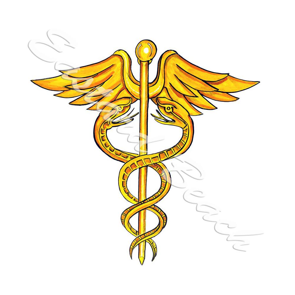 Caduceus Staff Of Hermes - Printed Vinyl Decal