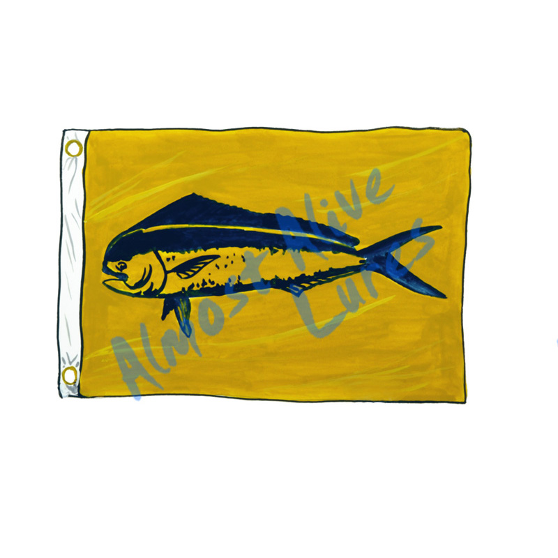Mahi Mahi Release Flag - Printed Vinyl Decal