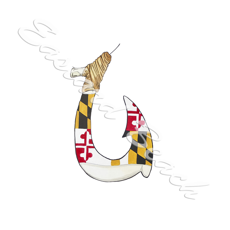 Maryland Flag Hook Fish Hook Decal