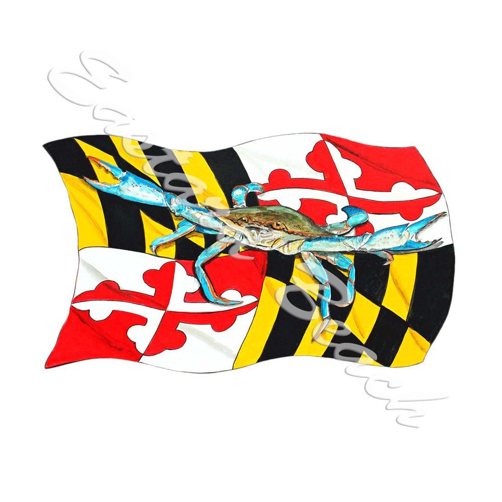 Maryland State Flag & Blue Crab - Printed Vinyl Decal