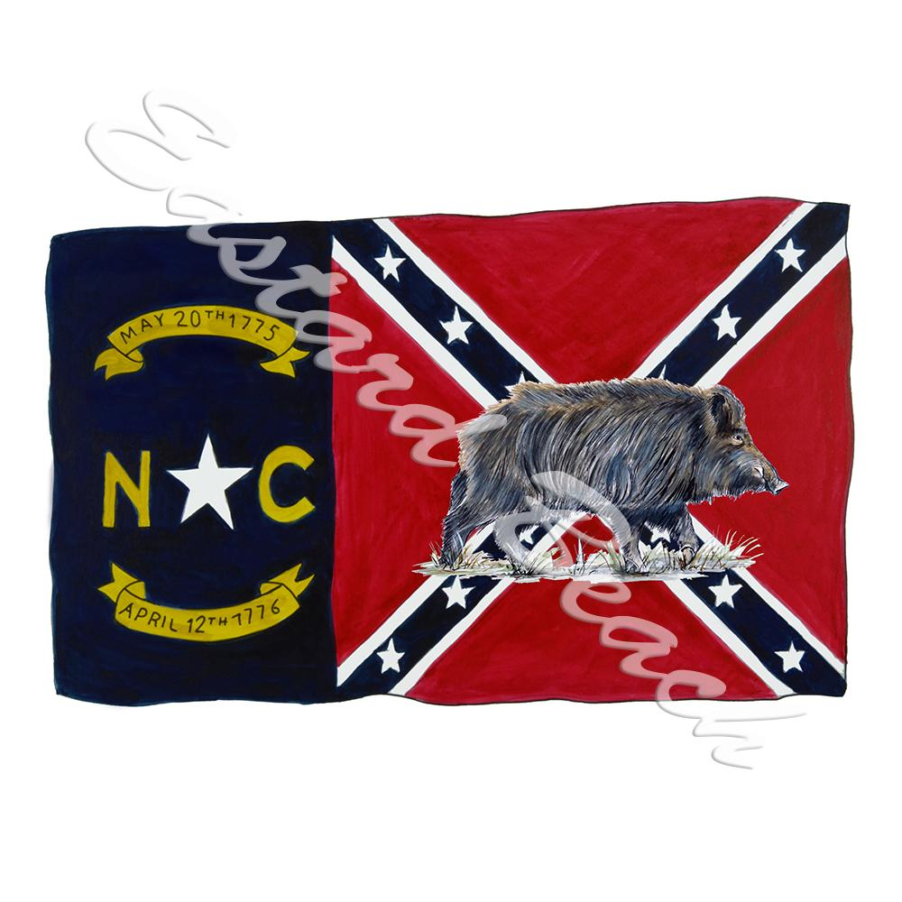 NC Confederate Flag W/ Boar