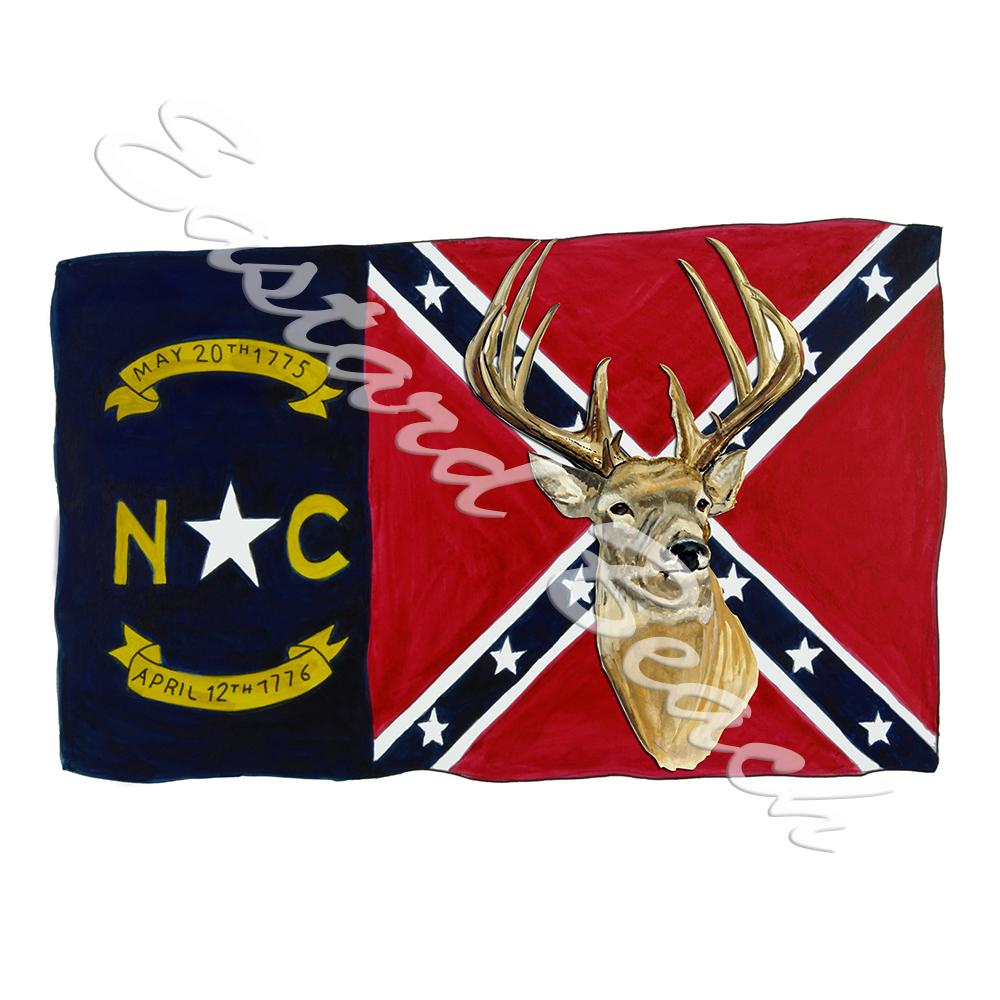 NC Confederate Flag w/ Buck