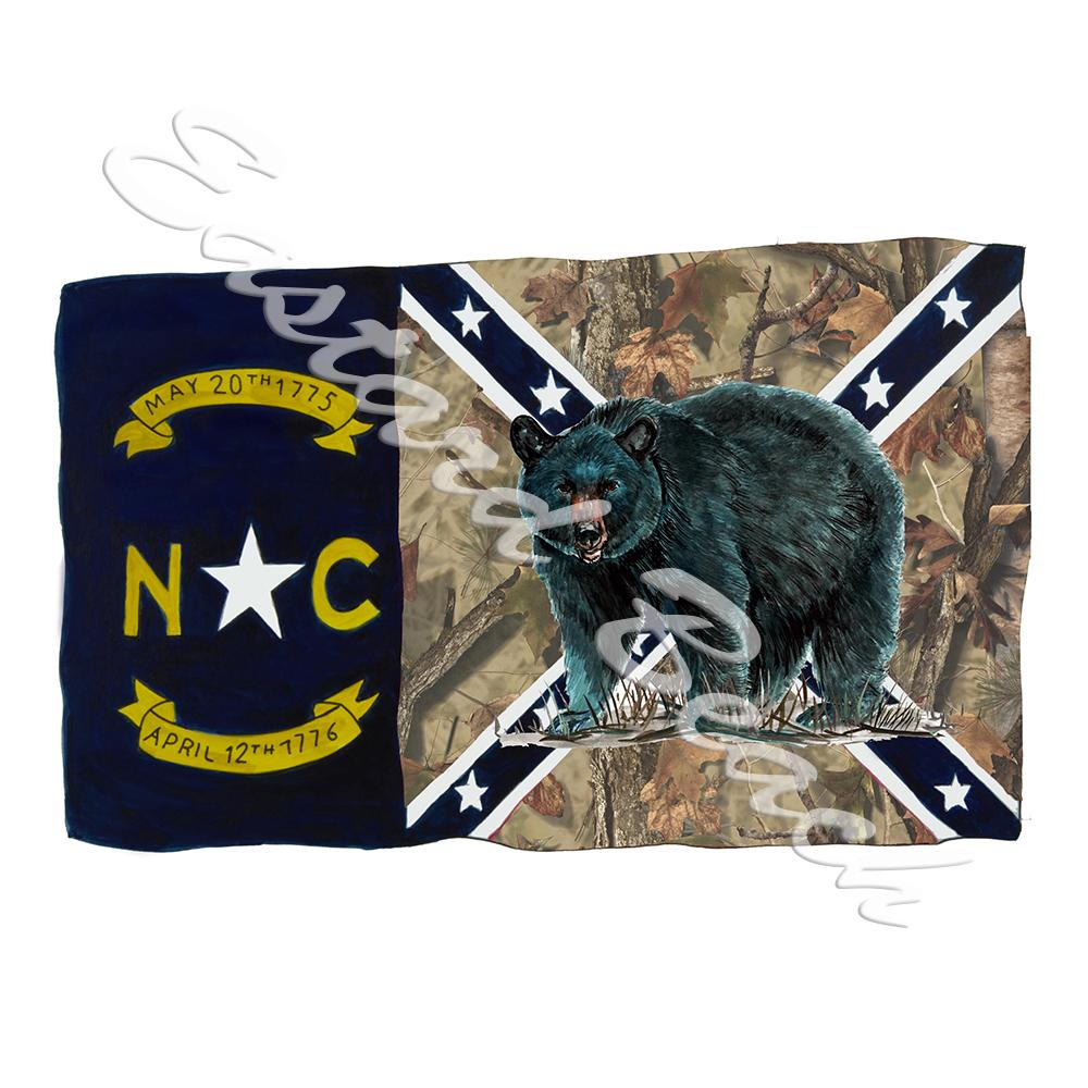 NC Camo Confederate Flag w/ Bear