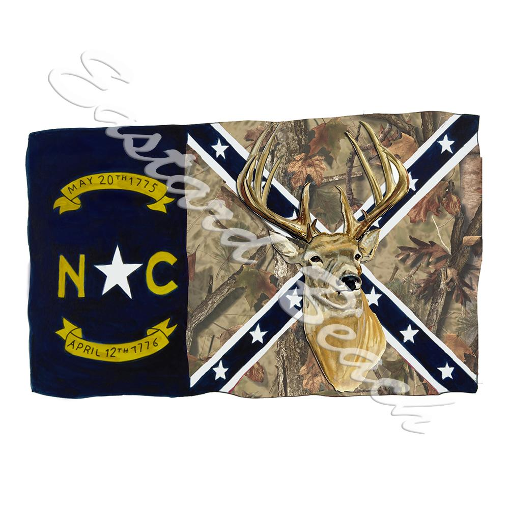 NC Camo Confederate Flag w/ Buck