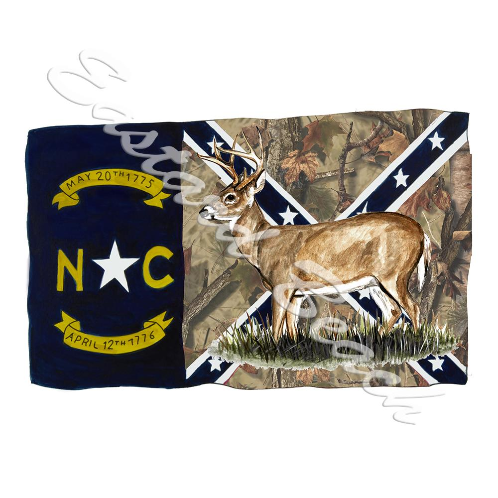 NC Camo Confederate Flag w/ Deer