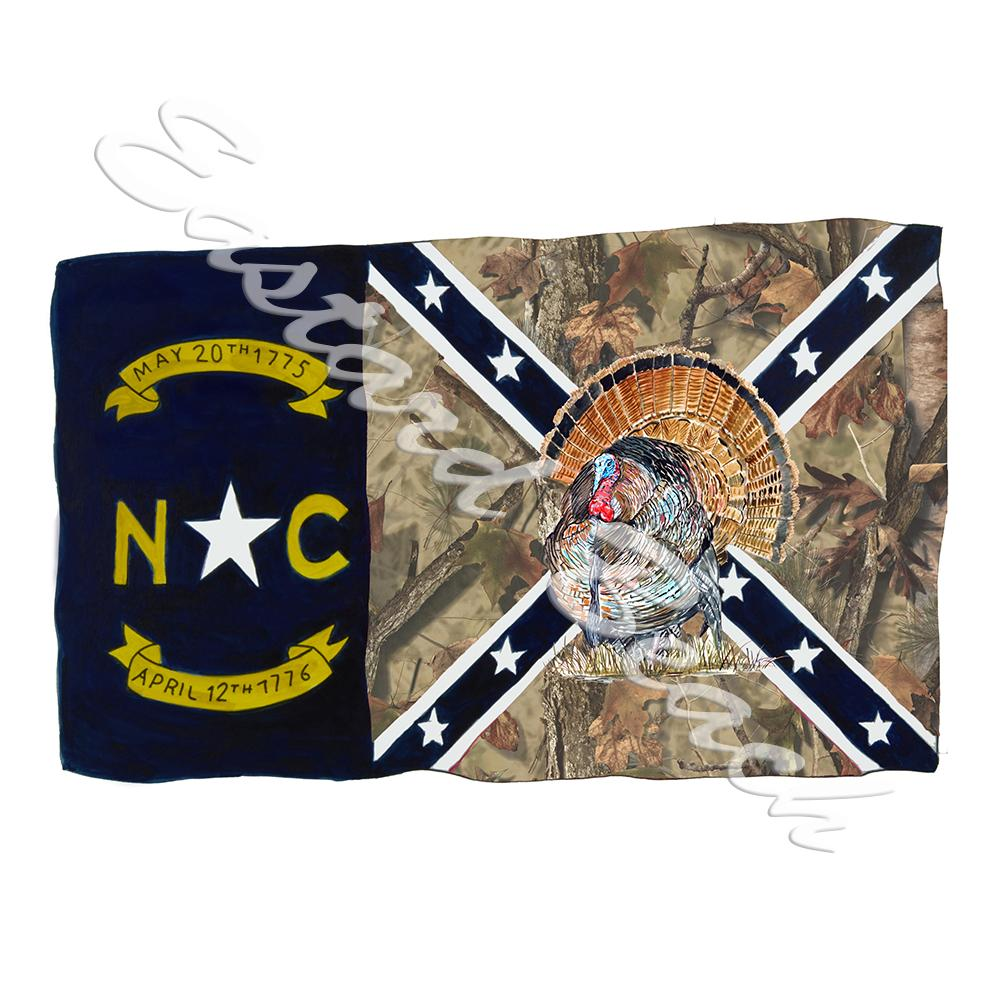 NC Camo Confederate Flag w/ Turkey