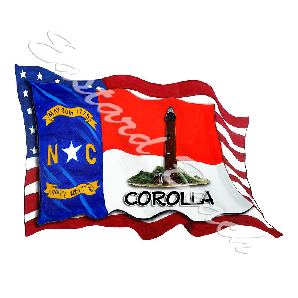 USA/NC Flags w/ Lighthouse - Corolla