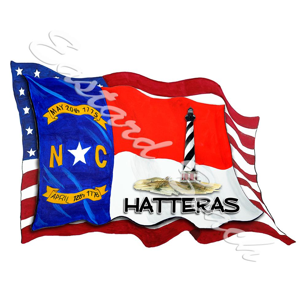 USA/NC Flags w/ Lighthouse - Hatteras