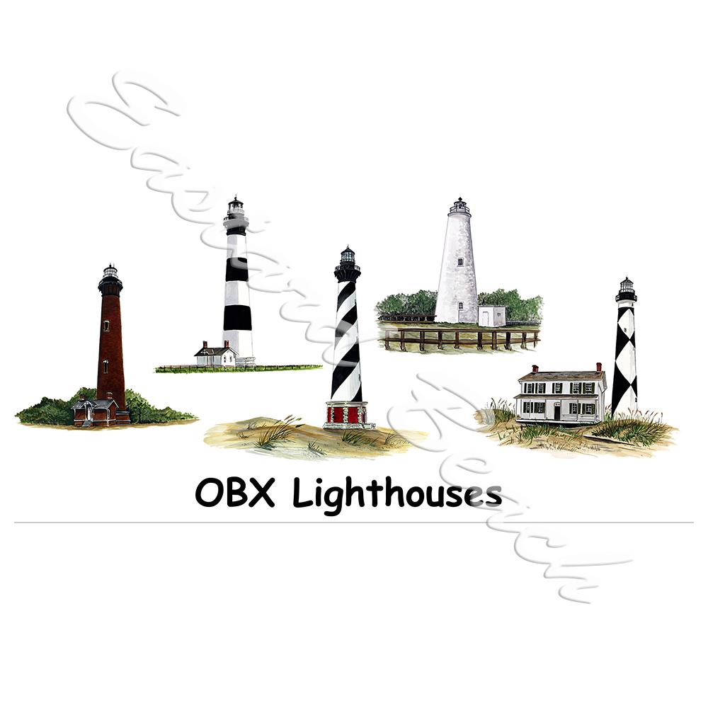 OBX Lighthouses - Printed Vinyl Decal