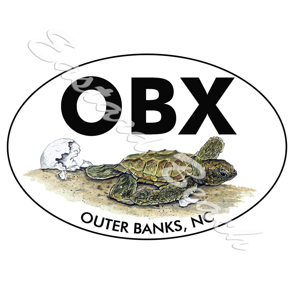OBX - Outer Banks - Turtle Hatchling - Printed Vinyl Decal