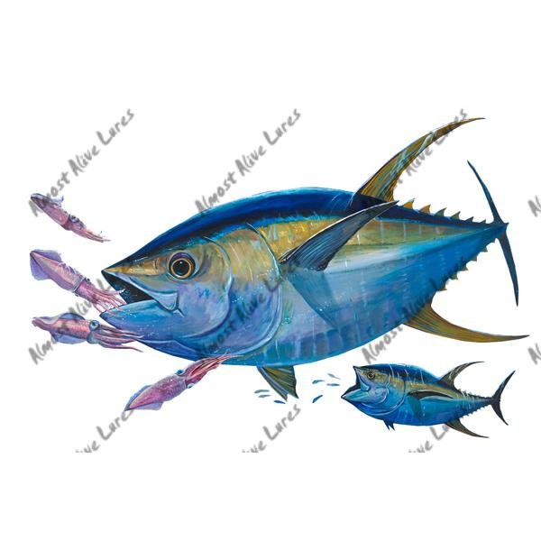Yellowfin Tuna & Squid - Printed Vinyl Decal