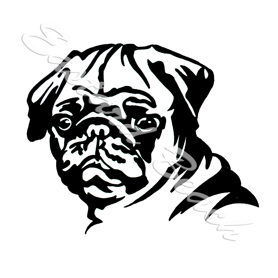 Pug Outline - Printed Vinyl Decal