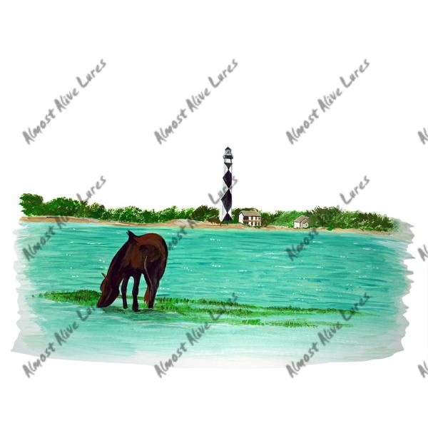 Cape Lookout Light & Wild Horse - Printed Vinyl Decal