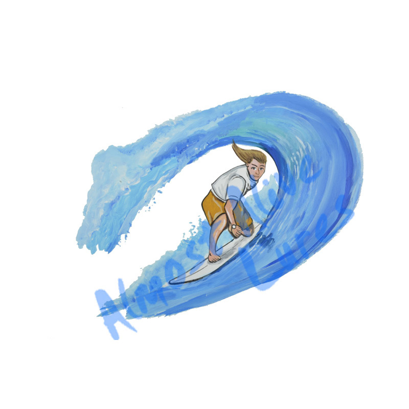 Surfer In Barrel - Printed Vinyl Decal