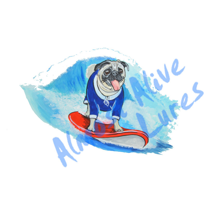 Surfing Pug - Printed Vinyl Decal